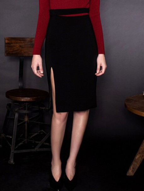 dcafad728a skirt, choies, black pencil skirt, high waist slit side pencil skirt ...