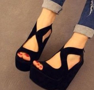 shoes wedges black black wedges heels cut-out high heels black high heels cute high heels open front fahsion