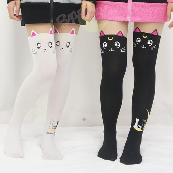 tights sailormoon stockings cats kitty
