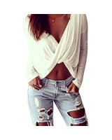 Women deep v neck front cross crop top long sleeves blouse at amazon women's clothing store: