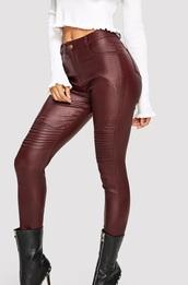 pants,girly,girl,girly wishlist,burgundy,leather,leather pants