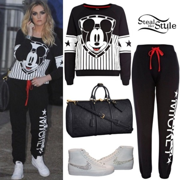 sweater perrie edwards mickey mouse sweatshirt black white black and white forever 21