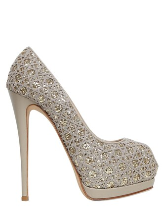 glitter open embroidered pumps nude shoes