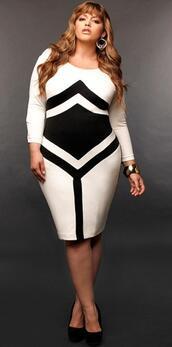 dress,black and white,plus size,shorts