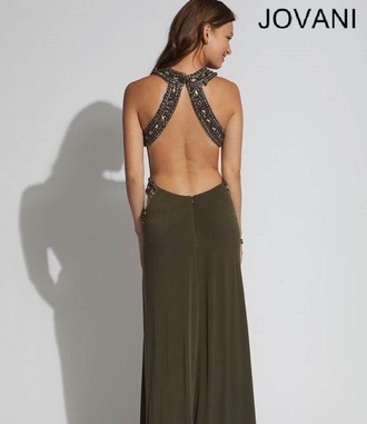 dress olive green jovani prom dress