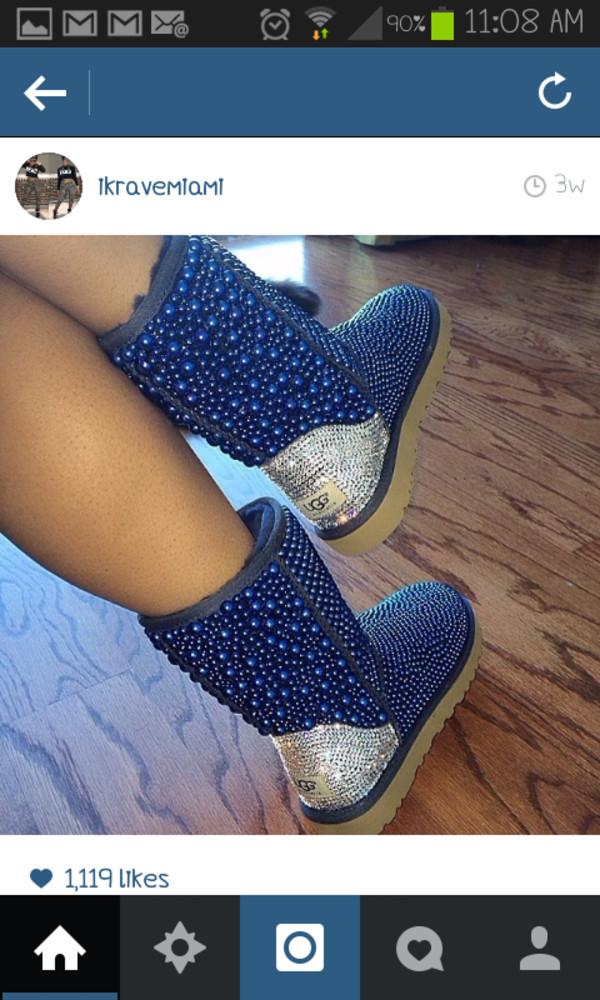 shoes, blue, ugg boots, pearl uggs, pearl, rhinestones, white, newcrystalwaveshoes, newcrystalwavebling, newcrystalwave - Wheretoget