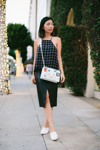 honey n silk blogger halter top grid slit skirt diorama bag dior bag white bag embellished embellished bag top checkered skirt front slit skirt black skirt midi skirt crossbody bag mules white mules
