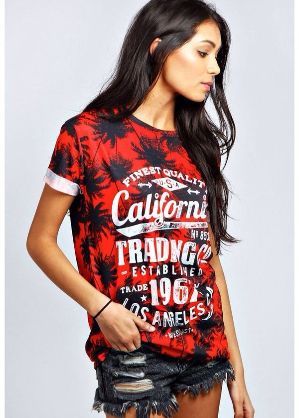 t-shirt california top red black