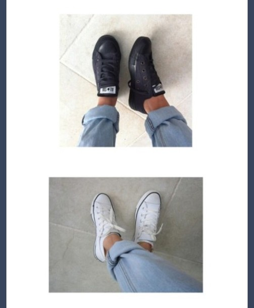 shoes black and white converse