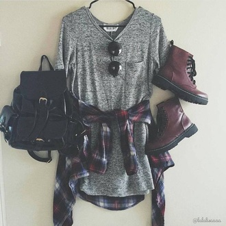 dress shirt grunge boots black grey top stripes drmartens long grey shirt flannel shirt flannel grey shirt t-shirt t-shirt dress grey dress shoes