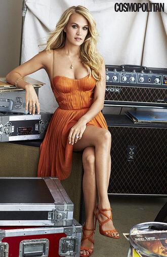 dress carrie underwood orange dress orange editorial sandals prom dress bustier dress