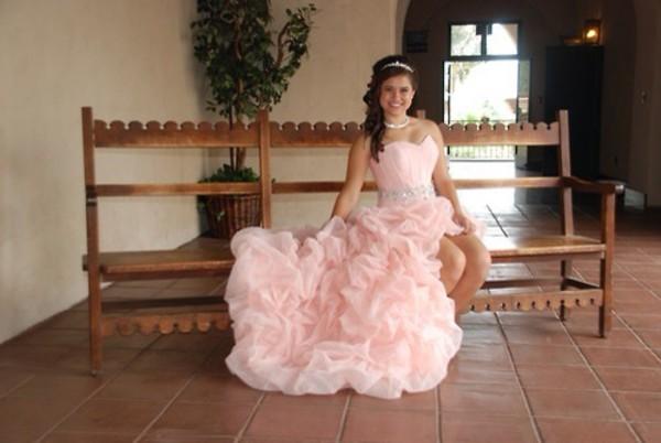 dress pink low high prom dress quinceanera dress
