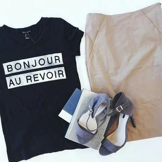 t-shirt black t-shirt bonjour bitches bonjour black shirt elegant nice