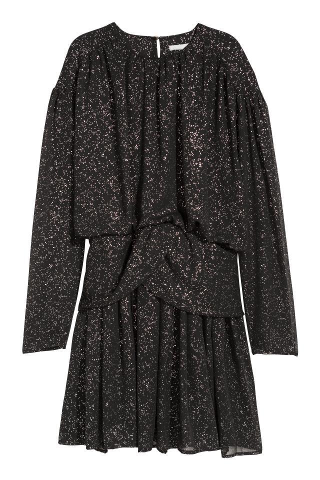 zapatos para baratas nueva estilos diseño de calidad Vestido drapeado - Negro/Brillante - MUJER | H&M ES