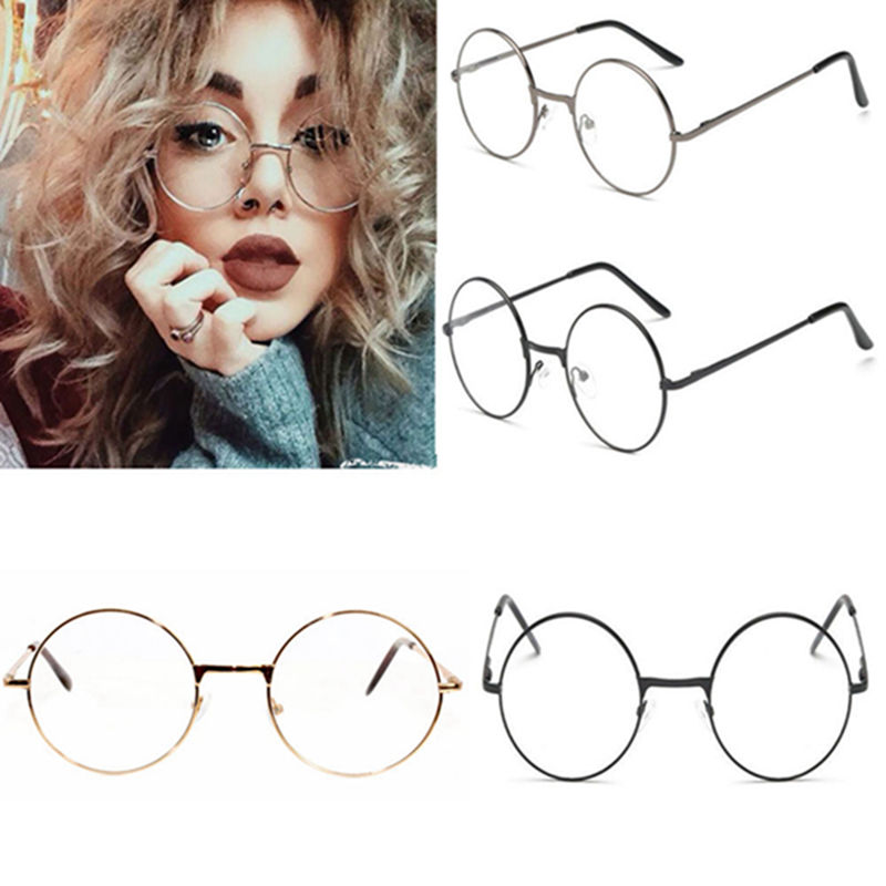 8a7486ce3c7 Women Men Large Oversized Metal Frame Clear Lens Round Circle ...