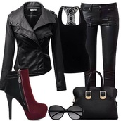 shoes,heels,black,maroon/burgundy,boots,jacket,jeans,bag,black leather jacket,black leather pants,black shirt,blouse,jewels,sunglasses