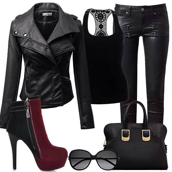 shoes heels black maroon/burgundy boots jacket jeans bag black leather jacket black leather pants black shirt blouse jewels sunglasses