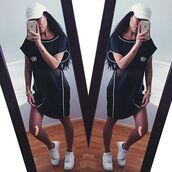dress,maniere de voir,tunic,top,oversized,sportswear,luxe,black,piped,monochrome