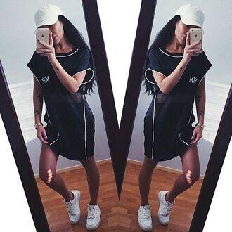 dress maniere de voir tunic top oversized sportswear luxe black piped monochrome