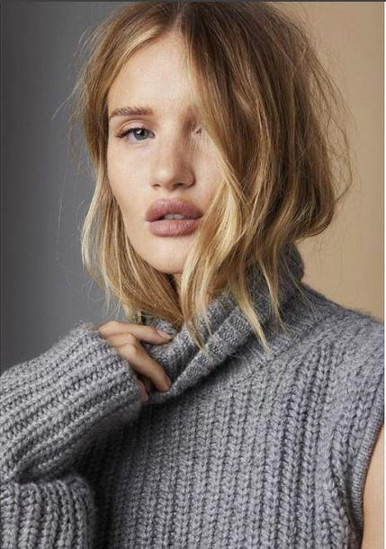 sweater grey sweater grey turtleneck turtleneck sweater rosie huntington-whiteley model editorial