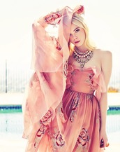 dress,gown,peach,pastel,roses,summer,elle fanning,organza dress,editorial,prom,prom dress,floral dress,bustier