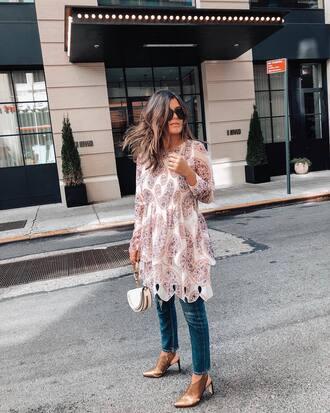dress tumblr midi dress lace dress long sleeves long sleeve dress denim jeans blue jeans shoes slingbacks handbag bag