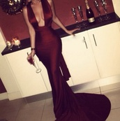 dress,mermaid,plunging,burgundy,red,oxblood,gown,jersey,satin