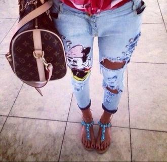 jeans pants streetwear denim jacket fashion blue jeans disney