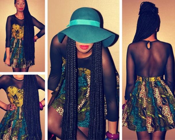 dress african print sheer wax fabric printed dress