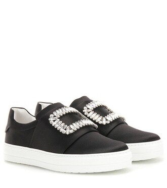 embellished sneakers satin black shoes