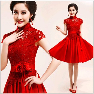 red flower Short design Cheongsam 2013 fashion lace flower evening dress Female women Cheongsam,2style, 2589-in Cheongsams from Apparel & Accessories on Aliexpress.com