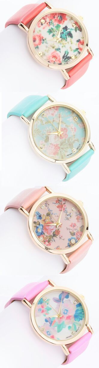 jewels watch roses flowers pastel pink mint blue gold