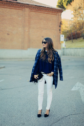coat,goodnight macaroon,plaid coat,white skinny jeans,sunglasses,skinny jeans,white jeans,navy,tartan,blue tartan,plaid,blue plaid,skinny black belt,checkered,black heels,long hair,black sunglasses