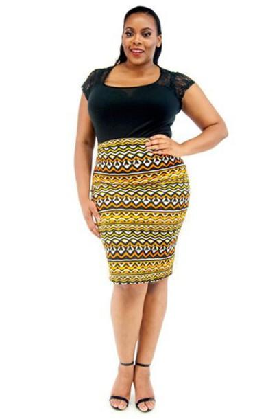 6056b40301f4 skirt, plus size, plus size skirt, midi skirt, pencil skirt, tribal ...