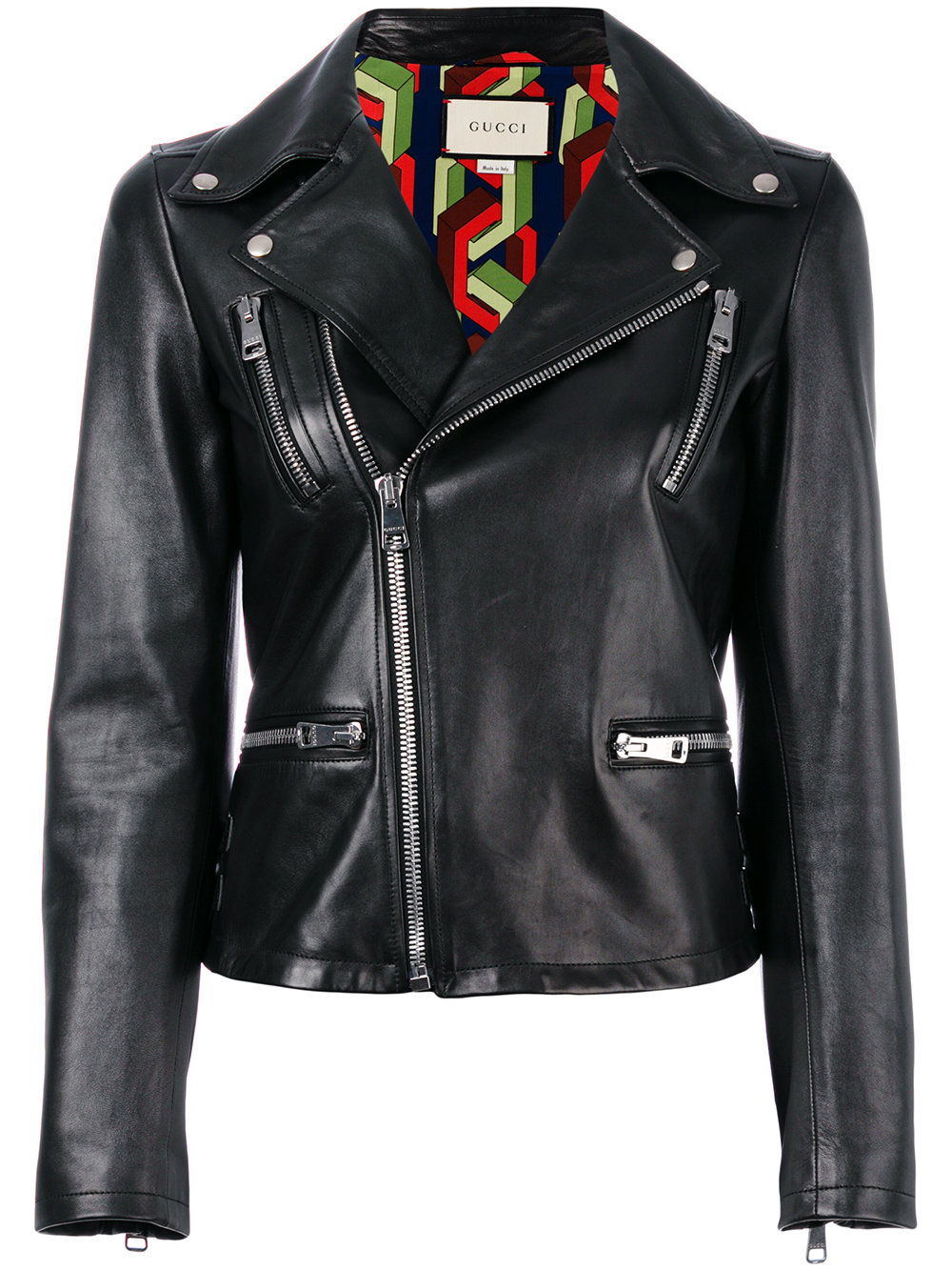Gucci Angry Cat Embroidered Leather Jacket - Farfetch