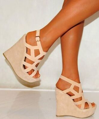 shoes wedges beige