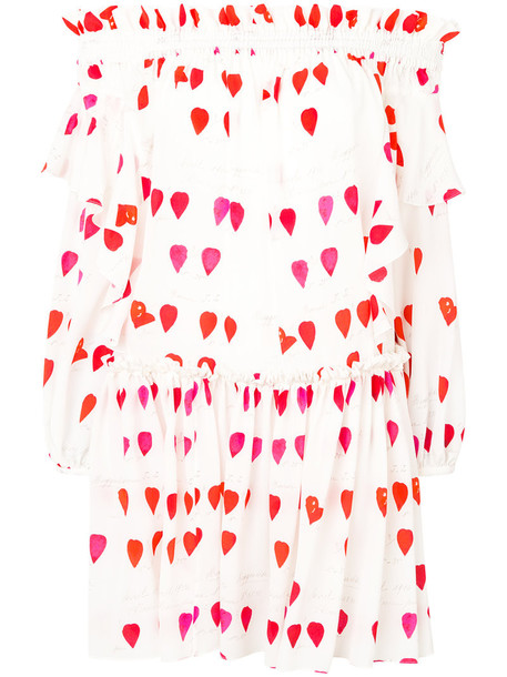 dress printed dress women white silk