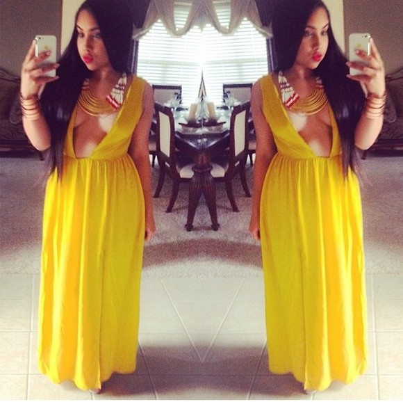 dress maxi dress chiffon long dress yellow maxi dress spring dress fashion blogger chic style yellow dress summer dress spring fashion followme shopaholic fashionista cutout dress v cut neck dress v cut long v cut miami beachwear