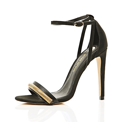 Black slinky chain trim barely there sandals