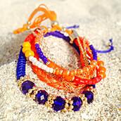 jewels,accessories,beaded bracelet,bikini luxe,bikini luxe jewelry,blue bracelet,braided bracelet,crystal bracelet,hippie jewelry,layered bracelets,orange bracelet,stacked bracelets,string bracelet,bikiniluxe