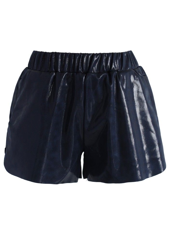 Glossy Faux Leather Shorts in Navy - Retro, Indie and Unique Fashion