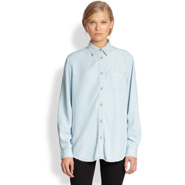 Acne Studios Wave Oversized Denim Shirt - Polyvore