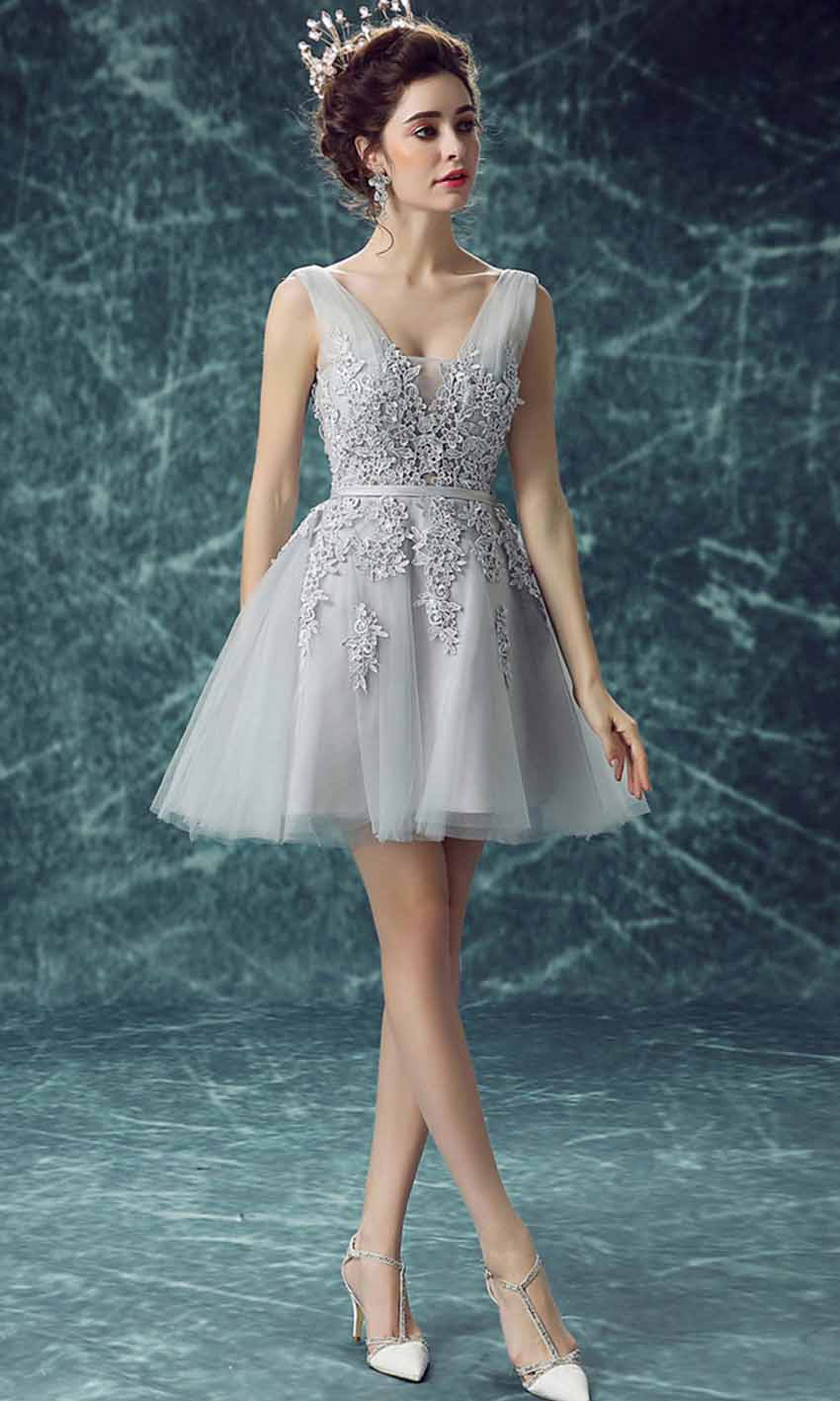 Grey Short Prom Dresses with Applique Lace Up KSP452 [KSP452 ...