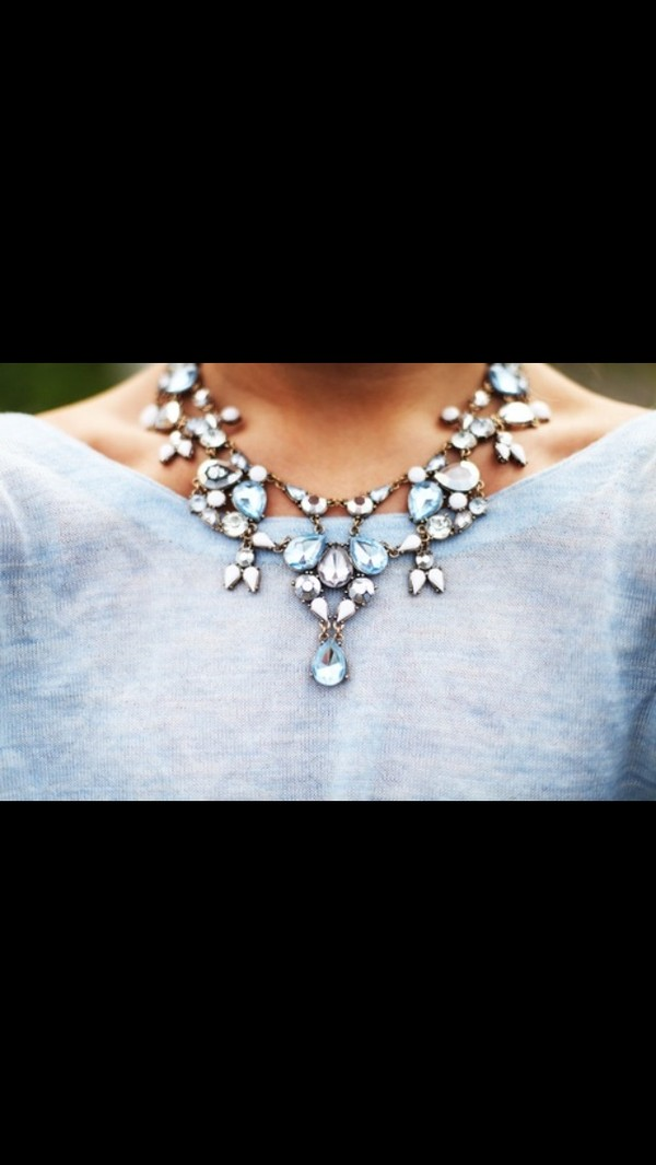 jewels necklace blue diamonds white stones jewelry statement necklace