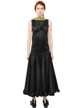 dress satin dress sleeveless satin black