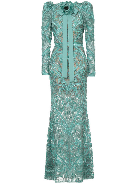 Elie Saab gown long women embellished silk green dress