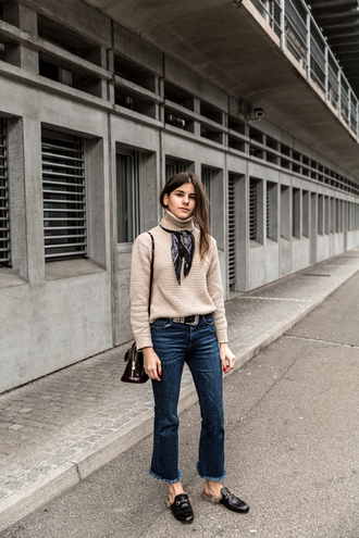 the fashion fraction blogger knitted sweater beige sweater jeans silk scarf shoulder bag black belt flatform sandals french girl style
