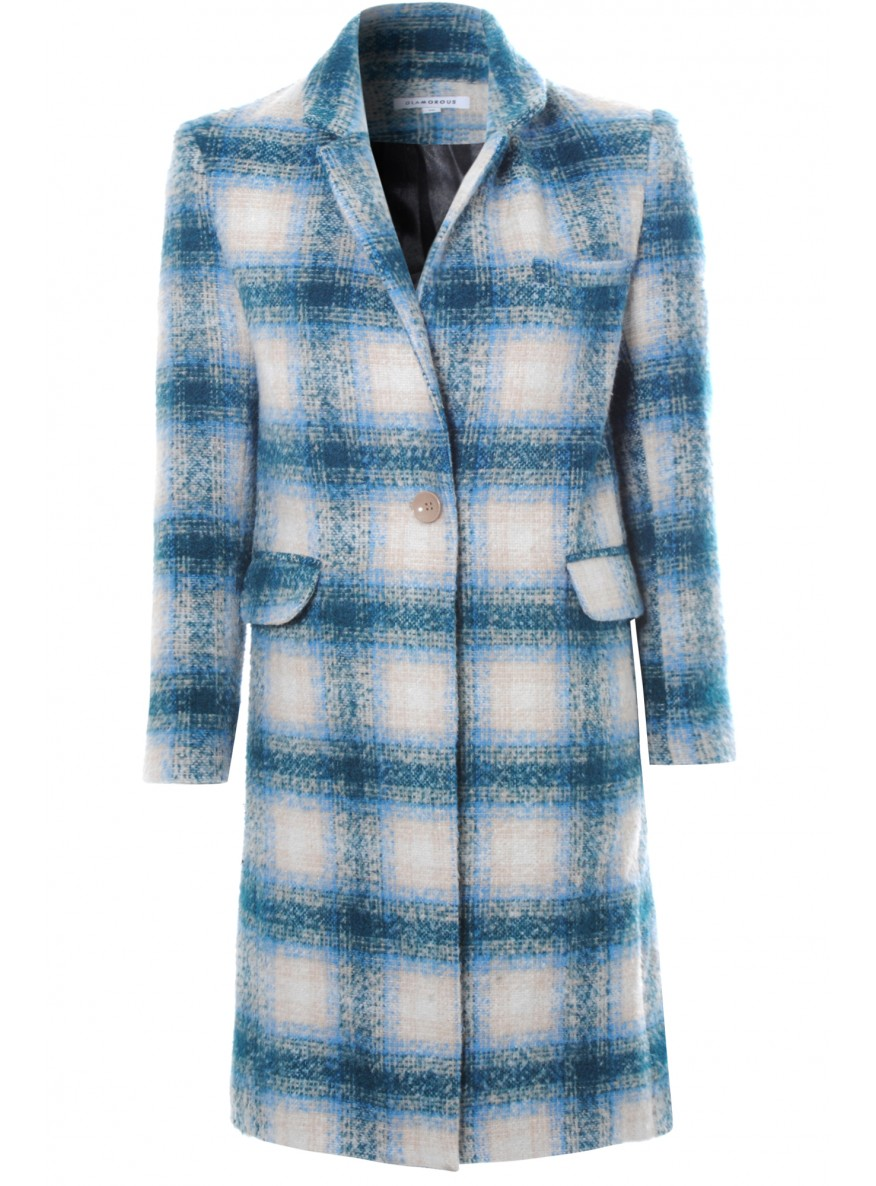 Blue And Cream Check Print Long Notched Lapel Coat