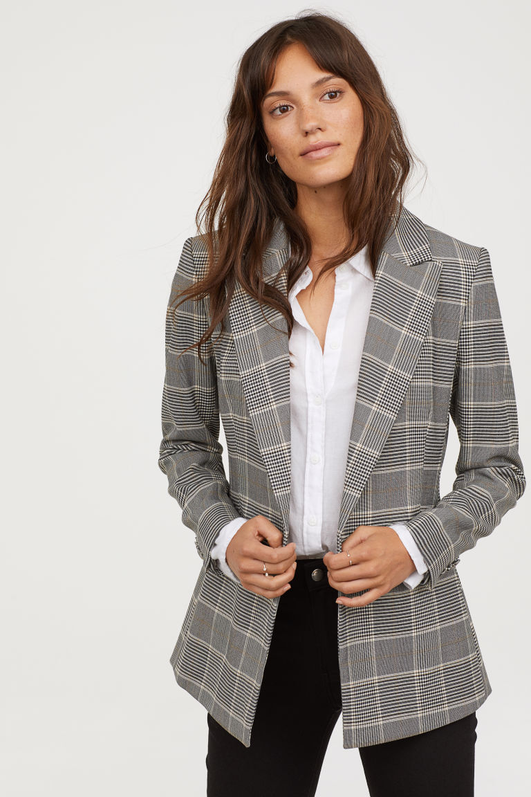 a46496b68 Double-breasted Jacket - Gray/checked - Ladies | H&M US