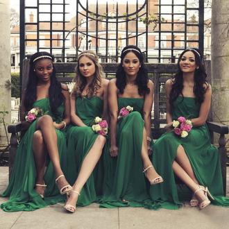 dress prom prom dress green green dress emerald green bridesmaid maxi maxi dress strapless fashion style trendy girly cute amazing beautiful cute dress